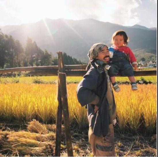2014年秋天,水稻收割之后,六合大儿子和空在田里。六用日本人的传统方法晒稻――在田里支起木桩,把稻束倒挂起来晾晒。