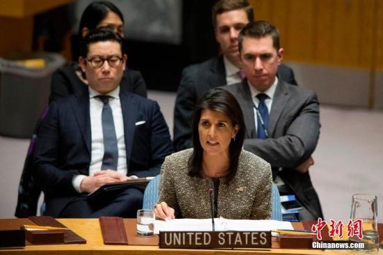 资料图:黑莉在联合国总部发言。中新社记者 廖攀 摄