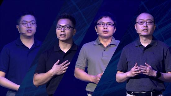 (左至右)广汽研究院软件开发工程师杨波、人工智能工程师彭斐、机电集成工程师吴为理、电池研发部负责人梅骜共同解密广汽黑科技